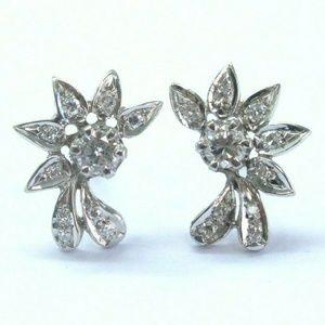 Jewelry - Fine Round Cut Diamond White Gold Earrings Push Ba